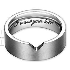 """I Want Your Love"" Hollow Matching Heart Flat Couple Rings Mens Womens Stainless Steel White Wedding Bands, Christmas Gift for Boyfriend/girlfriend, Valentine Engagement Promise Matching Wide Rings, Tail Ring Thumb Ring (6mm, 8mm) (Size:10.0 (8mm Width)) 