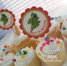 Dragon Theme - 20 Cupcake Toppers - Personalized - Birthday - Baby Shower - Choose the design