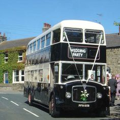 A double decker is the perfect wedding bus to hire. A 1959 AEC Regent is the classic 72 seat wedding limousine. For hire Bury, Bolton and Lancashire. Wedding Limo, Dream Wedding, Wedding Reception, Monochrome Weddings, Wedding Transportation, Double Decker Bus, Bus Coach, Wedding Inspiration, Wedding Ideas