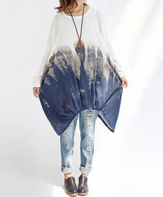 Cotton oversized Loose Fitting Long sleeve lantern dress by MaLieb