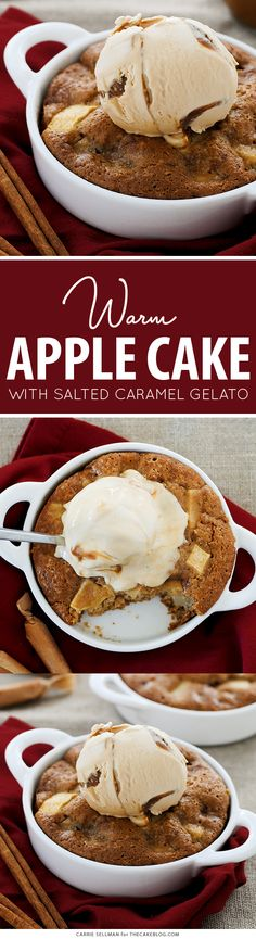Individual Warm Apple Cake with Salted Caramel Gelato   by Carrie Sellman for TheCakeBlog.com