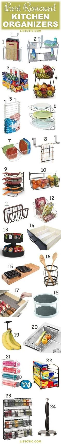Kitchen Organization Ideas   The best reviewed kitchen organizers! These are great for the pantry, cabinets or countertops... especially for small kitchens.