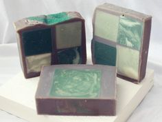 Cedar & Balsam  - www.jennifersoap.com. Great idea if you have soap that isn't quite the best color-cube it and frame it!