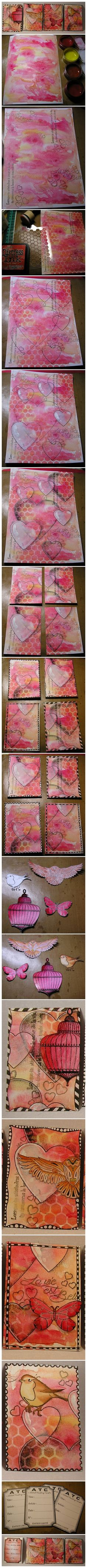 Pretty watercolor backgrounds for journaling, art, ATCs, etc.