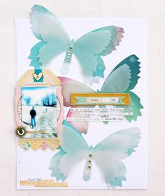 Stunning butterflies with the watercolor background and vellum over the top! @Anabelle O'Malley for Crate Paper