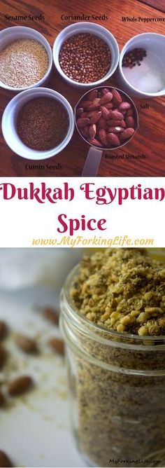 Dukkah Spice Mix, also known as Egyptian Spice, is a flavorful blend of seasoning that can go on meat, fish, and vegetables. Homemade Spices, Homemade Seasonings, Chex Mix, Spice Blends, Spice Mixes, Dukkah Recipe, Egyptian Food, Egyptian Recipes, Spice Rub