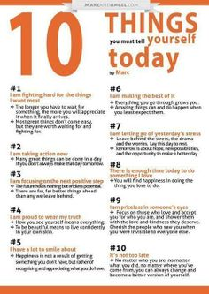 10 Things You Must Tell Yourself Today