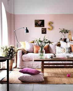 Thinking about taking the idea of Golden Girls and making it into a modern living room. This color palette reminds me of such an idea: Colour Blocked Pink Living Room   photo Clive Tompsett   House & Home