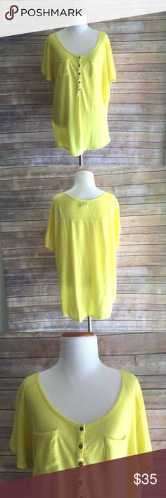 Lucky Brand Semi Sheer Summer Blouse Semi-sheer, loose fit bright yellow blouse from Lucky Brand. Ramie and Cotton. Wear it with skinny jeans and a tank top or as a beach coverup! Lucky Brand Tops Blouses