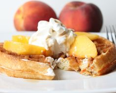 Yeast Leavened Belgian Waffles with Peaches and Cream