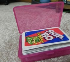 Travel soap boxes used to store card games.