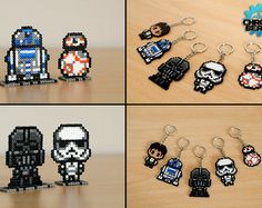 Star Wars - ORIGINAL DESIGN - Star Wars Day - Darth Vader Stormtrooper R2-D2 BB8 Han Ian Solo - Keychain - hama beads - perler beads - stand