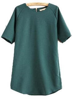 Green Short Sleeve Loose Straight Dress N.Kr.171.18