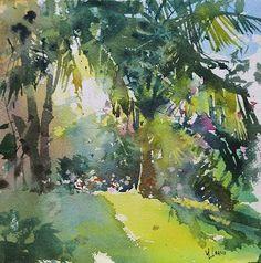 Mark Lague (b. 1964, Canada) Through the Palms. plein air. watercolor. 8 x 8 in.