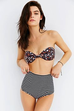 Out From Under Printed High-Waist Bikini Bottom
