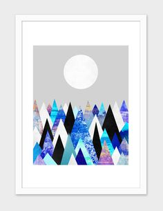 """#18 - CA + WFP """"Blue Peaks 2"""", Numbered Edition Fine Art Print by Elisabeth Fredriksson - From $25.00 - Curioos"""