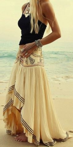 Look falda larga boho