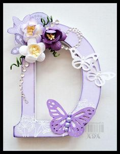"""D"" Altered Art Letter Using Scrapbook Paper, Flowers, Paint, Ribbon, And Embellishments Fancy Letters, Flower Letters, Letter A Crafts, Letter Art, Monogram Letters, Letters And Numbers, Initial Crafts, Painted Wood Letters, Wooden Letters"