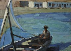 Boat with Sail (Panormos, Tinos) - Nikolaos Lytras Greek Paintings, Oil Paintings, National Gallery, Boat Painting, Post Impressionism, Greek Art, Art Database, Conceptual Art, Art Google