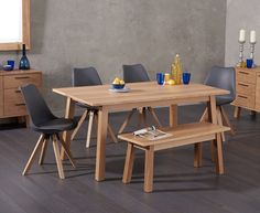 Annalie 160cm Oak Dining Table with Oscar Faux Leather Square Leg Chairs and Annalie Benches