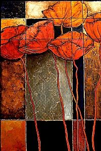 Patchwork  Acrylic on Canvas  36 x 24     This painting has heavily textured poppy forms and a variety of surface treatments including art papers, acrylic medium, and metal leafing.  It is framed in a black, canvas floater wood frame.