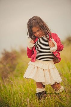 One Good Thread - Persnickety Clothing Bubble Skirt In Cream, black and white striped shirt, lace, boots, coral pink jacket
