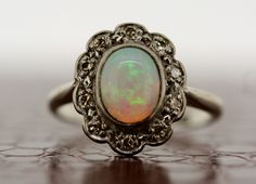 Antique Opal Ring  1930s Vintage Opal & Diamond by AlistirWoodTait, £1,150.00