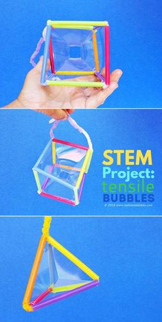 STEM Project: Make geometric bubbles that mimic tensile structures. Great engineering project for kids!