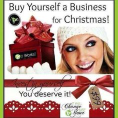 Be your own Boss. Set your own hours.  Work at your own pace.  Start the New Year out right. Only $99 to get started (includes 4 wraps)  #crazywrapthing #entrepreneurs #business #debtfree www.jlmckinney.myitworks.com