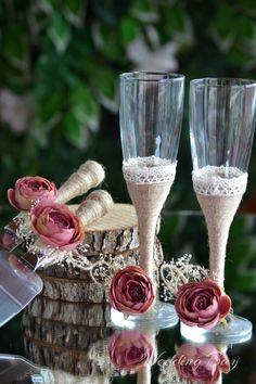 Rustic Wedding Set, Champagne flutes, Toasting Glasses Cake Serving Set, Cake server and Wedding cake knife - set of 4pcs. by WeddingBay on Etsy