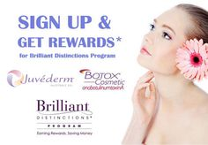Brilliant Distinctions pays you back for buying Botox, Juvederm, Latisse or Skin Medica products!