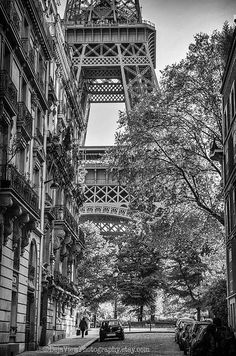 Approaching the Eiffel Tower, my heart always skips a beat.  Eiffel Tower in black and white.  Paris art