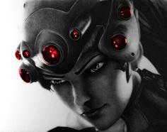 Widowmaker - Overwatch Pencil Portrait by Names76