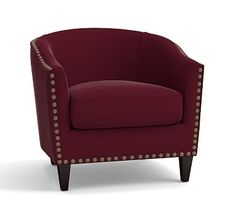 Harlow Upholstered Armchair with Bronze Nailheads, Polyester Wrapped Cushions, Vintage Velvet Claret