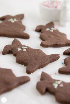 Rezept für Schoko Nougat Hasen Kekse / recipe for chocolate nougat cookies in rabbit shape