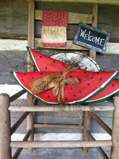 Handmade primitive, grungy watermelons and hand stitched small towel Watermelon Ideas, Watermelon Patch, Watermelon Decor, Primitive Folk Art, Primitive Crafts, Crafts To Make, Arts And Crafts, Homemade Clay, Summer Deco