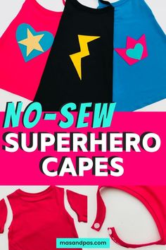 Learn how to make this super easy DIY superhero cape out of nothing more than a t-shirt. These fun and colourful no sew capes make the perfect fancy dress outfit or easy costume for World Book Day. Fun craft for kids and a great DIY kids costume. Superhero Capes For Kids, Superhero Dress Up, Superhero Costumes Kids, No Sew Cape, Diy Cape, Easy Diys For Kids, Fun Crafts For Kids, Fancy Dress Diy, World Book Day Costumes