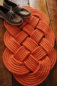 Nautical Rope Rug Orange Cotton Bath Mat Rope Mat by OYKNOT