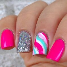 Pretty nails swirl nail art pink