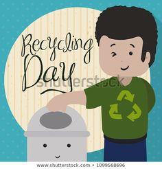 Happy young man wearing a shirt that promote recycling activities next to a cute recycle bin for Recycling Day celebration. Recycling Bins, Young Man, Celebration, Royalty Free Stock Photos, Family Guy, Activities, Day, Illustration, Cute