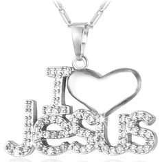 I Love Jesus Piece Heart Necklace