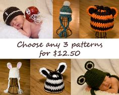 5 Patterns for 18 Crochet Quick and Easy Hat Beanie Toboggan Adult Baby  Newborn Photography Prop Studio Boy Girl Animal Earflap Toque eaa29275ec4b