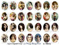 viNtage bEaUty - 30 x 40 mm ovals - Digital Collage Sheet (no 406). $4.50, via Etsy.