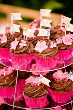 Chocolate Cup Cakes Flags Colourful Pastel Home Made Farm Wedding http://helencawtephotography.com/