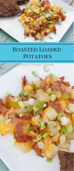 Roasted Loaded Potatoes are potato-y, cheesy, bacon-y deliciousness.  These are quick and definitely a crowd pleaser! via @https://www.pinterest.com/mindeescooking/