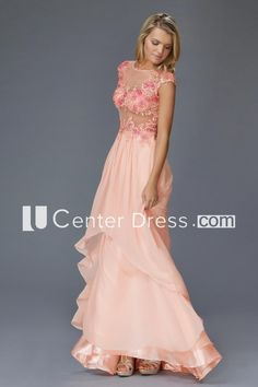 A-Line Maxi Scoop-Neck Cap-Sleeve Chiffon Illusion Dress With Appliques