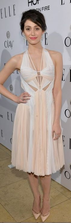 Who made Emmy Rossum's nude pleated dress, cross pumps, and jewelry that she wore in West Hollywood on January 22, 2013?