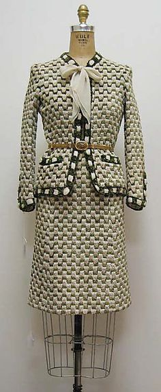 Suit House of Chanel (French, founded 1913) Date: 1970s Culture: French Medium: a) cotton, silk, metal; b) cotton, silk; c) metal c) metal