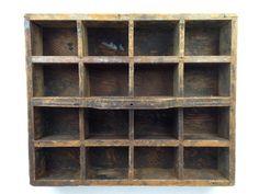 Antique Divided Wood Box Vintage Wooden by WyrembelskisVintage