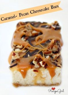 caramel- pecan cheesecake bars These delicious cheesecake bars are topped with a layer of gooey caramel, a drizzle of melted chocolate and chopped pecans.